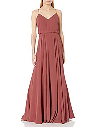 cheap -jenny yoo women's inesse thin strap v neck long chiffon gown, cinnamon rose, 18