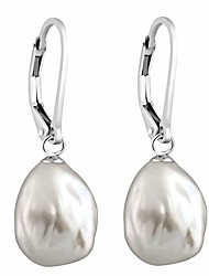 cheap -lever-back dangling earrings 10-12mm white baroque freshwater cultured pearls (sterling-silver)