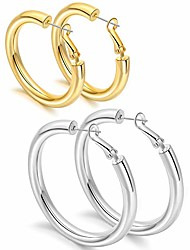 cheap -thick hoop earrings set hollow 14k gold plated gold chunky hoops earring for women gold40mm/silver50mm