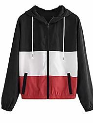 cheap -womens long sleeve rose color block thin hooded zipper jacket pocket sport coat
