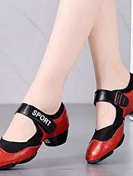 cheap -Women's Jazz Shoes Heel Thick Heel Red Black Elastic Hook&loop Slip-on Adults' / Performance