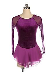 cheap -Figure Skating Dress Women's Girls' Ice Skating Dress Purple Spandex High Elasticity Training Competition Skating Wear Crystal / Rhinestone Long Sleeve Ice Skating Figure Skating / Kids
