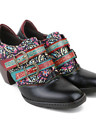 cheap -Women's Heels Chunky Heel Square Toe Vintage Daily Walking Shoes Cowhide Buckle Floral Black / Booties / Ankle Boots