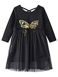 cheap -toddler girls cotton long sleeve casual dresses baby girls clothes 1-8y (butterfly, 100)