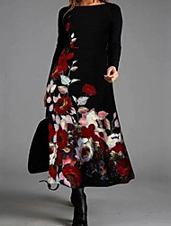 cheap -Women's Swing Dress Knee Length Dress - Long Sleeve Floral Print Fall Winter Elegant Vintage Loose 2020 Red Green L XL XXL 3XL 4XL 5XL