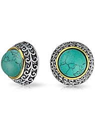 cheap -bali style two tone blue simulated turquoise dome clip on earrings for women non pierced ear silver gold plated alloy