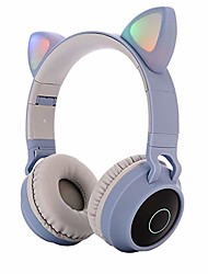cheap -electronics cute cat ear bluetooth 5.0 headphones foldable on-ear stereo wireless headset with mic led light support fm radio/tf card/aux in for smartphones pc tablet blue gray