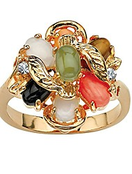 cheap -18k yellow gold plated oval shaped genuine green jade, tiger's eye, coral, onyx and opal ring size 8