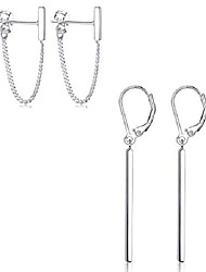 cheap -2pairs sterling silver minimalist chain earrings vertical bar dangle earrings sterling silver bar earrings for women