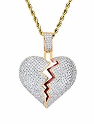 """cheap -broken heart pendant necklace hip hop cz fully iced out bling cz diamond 24k white gold plated with 24"""" stainless rope chain"""