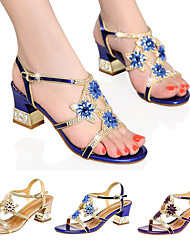 cheap -Women's Sandals Glitter Crystal Sequined Jeweled Plus Size Flare Heel Open Toe Block Heel Sandals Casual Daily Party & Evening PU Rhinestone Floral Purple Blue Gold