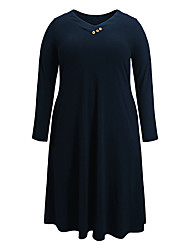 cheap -Women's Sheath Dress Knee Length Dress - Long Sleeve Solid Color Button Fall V Neck Plus Size Elegant Casual 2020 Blue XL XXL 3XL 4XL