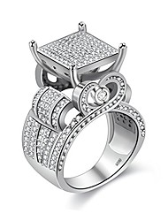 cheap -charm huge square platinum plated white cubic zirconia cz promise rings for her, wide wedding engagement band rings for women girls gift (size 5) ra0221