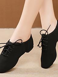 cheap -Women's Jazz Shoes Practice Trainning Dance Shoes Flat Flat Heel Camel Black Lace-up Adults' / Performance