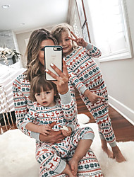 cheap -Family Look Family Matching Outfits Clothing Set Graphic Animal Long Sleeve Print Rainbow Christmas