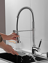 cheap -Kitchen faucet with Soap Dispensor - Single Handle One Hole Electroplated Pull-out / Pull-down / Tall / High Arc / Bar / Prep Deck Mounted Contemporary Kitchen Taps