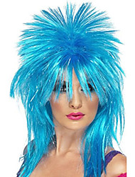 cheap -smiffy's women's sparkle rock diva wig long mullet, blue, one size