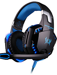 cheap -gaming headset pc with mic over-ear headphone cool led light 50mm hifi audio noise cancelling microphone use for computer laptop etc (black&blue)