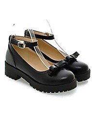 cheap -women's ankle strap round toe platform mary janes vintage leather chunky low heel oxford pumps black