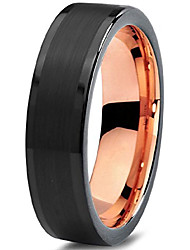 cheap -tungsten wedding band ring 6mm for men women 18k rose gold plated flat cut black grey brushed polished size 10.5