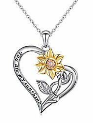 cheap -you are my sunshine sunflower gold plated s925 sterling silver pendant necklace earrings jewelry set (sunflower in heart)