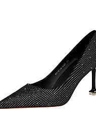 cheap -Women's Heels Stiletto Heel Pointed Toe Classic Daily Nubuck Sequin Solid Colored Black / 2-3