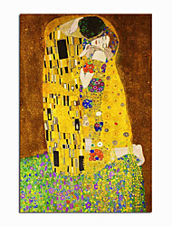cheap -World Famous Painting Series 100% Hand Painted Gustav Klimt's kiss Abstract Oil Painting on Canvas Wall Pictures For Living Room Home Decor Christmas Gift