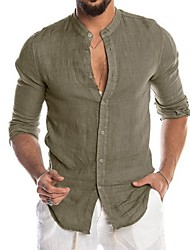 cheap -mens linen shirts long sleeve button up regular fit summer hip shirt yoga top khaki