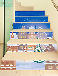 cheap -Christmas Toys Wall Decals Christmas Stairs Stickers Decals Elk Santa Claus Merry Christmas Waterproof Removable Party Favor PVC 12 pcs Kid's Adults 18*100cm Christmas Party Favors Supplies