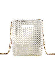 cheap -Women's Bags Polyester Evening Bag Pearls Solid Colored Pearl Handbags Wedding Party Beige