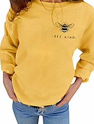 cheap -women bee kind sweatshirts bee graphic letter print shirt long sleeve casual inspirational pullover tops size s (yellow)