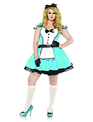 cheap -women's plus-size 2 piece storybook costume, blue/white, 1x/2x