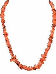 "cheap -charged 18"" carnelian agate crystal chip necklace tumble polished + selenite heart charging crystal reiki by zenergy gems"