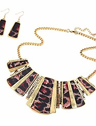 cheap -women alloy vintage leopard necklace and earring set jewellry set black and red