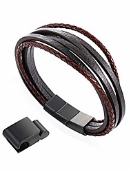 "cheap -8.5"" classic brown leather bracelet for men brushed stainless steel magnetic clasp multilayer brown braided - incl. extension and metal box- once as a gift!"
