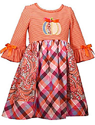 cheap -girls size 2t-6x coral pumpkin mix-print thanksgiving dress (6) orange, peach