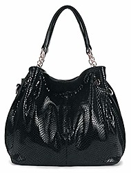 cheap -women genuine leather handbag snakeskin shoulder bag fashion elegant top handle bag for ladies, black