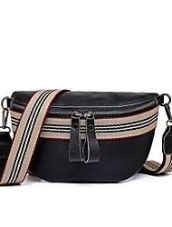 cheap -Unisex Bags Cowhide Fanny Pack Zipper Daily Outdoor Baguette Bag Bum Bag Black