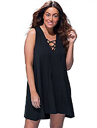 cheap -swimsuits for all women's plus size dress swimsuit cover up with lace up 22/24 black
