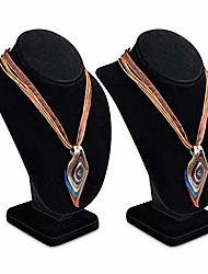 "cheap -2 pcs medium necklace chain jewelry bust display holder stand, necklaces display necklace mannequin, necklace bust jewelry bust stand 10"" height, black velvet"