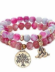 cheap -natural gemstone healing yoga beaded bracelets for women tree of life chakra bracelet jasper & tibetan agate-purple