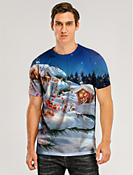 cheap -Men's 3D Graphic T-shirt Print Short Sleeve Christmas Tops Round Neck Blue