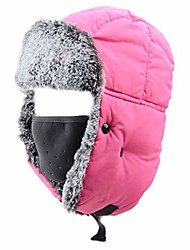 cheap -unisex winter trooper hat hunting hat ushanka ear flap chin strap with windproof mask (rose red - faux rabbit fur)