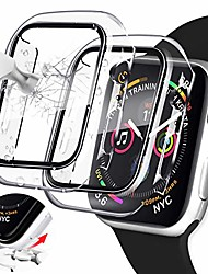 cheap -[2 pack] clear case compatible with apple watch 44mm series 5 series 6/4/se with screen protector, tempered glass built-in hard pc material full protective cover for iwatch series 6/5/4/se