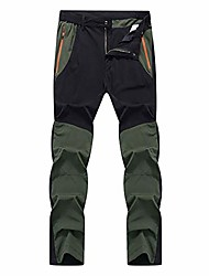 cheap -hiking pants mens splice breathable quick dry pants elastic waterproof pants(black-and-green,asian-size-2xl)
