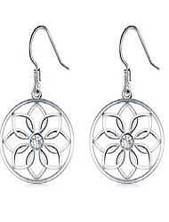 cheap -925 sterling silver earrings, boruo lotus flower yoga earrings
