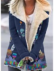 cheap -Women's Print Active Fall & Winter Teddy Coat Long Holiday Long Sleeve Cotton Blend Coat Tops Black