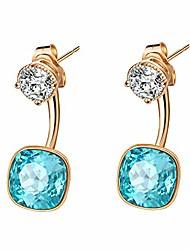 cheap -swarovski crystal front back 2 in 1 drop earrings for women 14k gold plated hypoallergenic earring jackets (aquamarine)