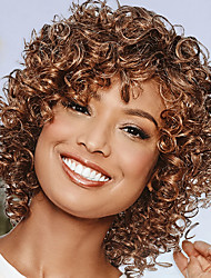cheap -Synthetic Wig Jerry Curl Asymmetrical Wig Blonde Medium Length Blonde Synthetic Hair Women's Fashionable Design Exquisite Fluffy Blonde