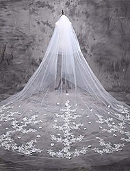 cheap -long cathedral length church applique lace bridal wedding drop veils ivory